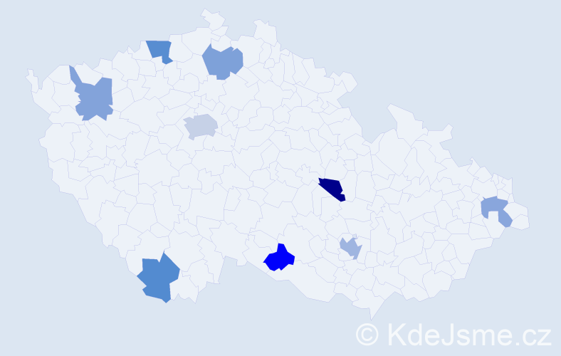 Jméno: 'Quentin', počet výskytů 13 v celé ČR