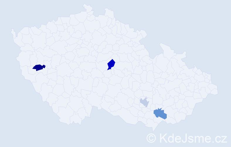 Jméno: 'Štěfan', počet výskytů 4 v celé ČR