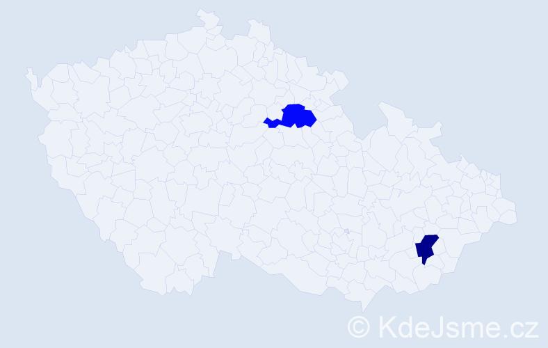 Jméno: 'Ganzorigt', počet výskytů 2 v celé ČR