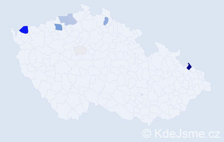 Jméno: 'Lieselotta', počet výskytů 9 v celé ČR