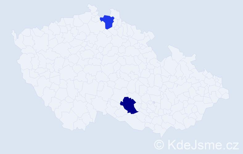 Jméno: 'Štěpán James', počet výskytů 2 v celé ČR