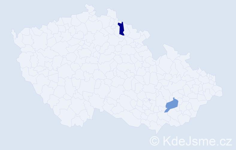 Jméno: 'Lenka Lucie', počet výskytů 2 v celé ČR