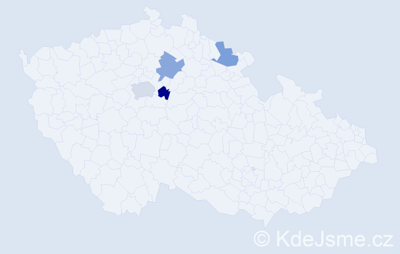 Jméno: 'Šírín', počet výskytů 5 v celé ČR