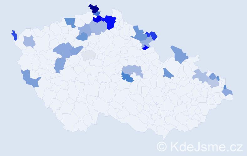 Jméno: 'Voršila', počet výskytů 44 v celé ČR