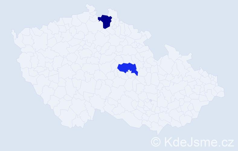 Jméno: 'Šťasta', počet výskytů 3 v celé ČR