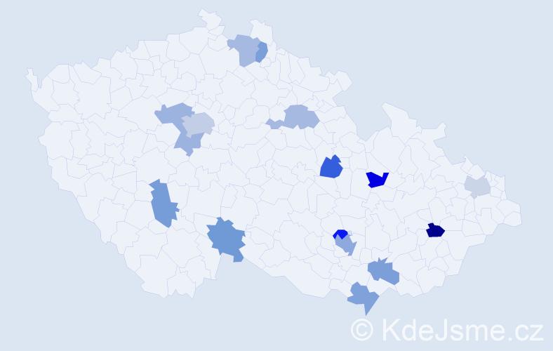 Jméno: 'Chloe', počet výskytů 21 v celé ČR