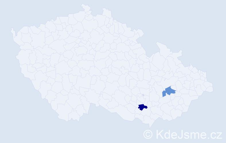 Jméno: 'Ladimíra', počet výskytů 2 v celé ČR