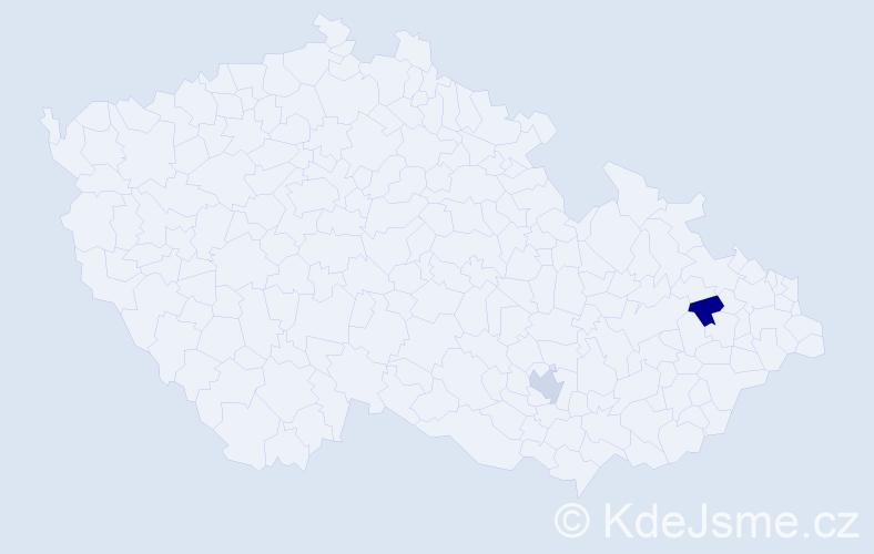 Jméno: 'Šimon Bartoloměj', počet výskytů 2 v celé ČR