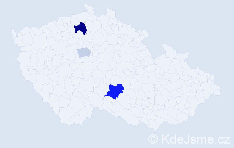 Jméno: 'Klára Ema', počet výskytů 3 v celé ČR