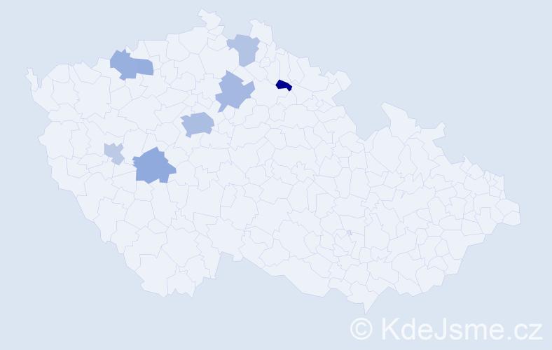 Jméno: 'Maksim', počet výskytů 14 v celé ČR