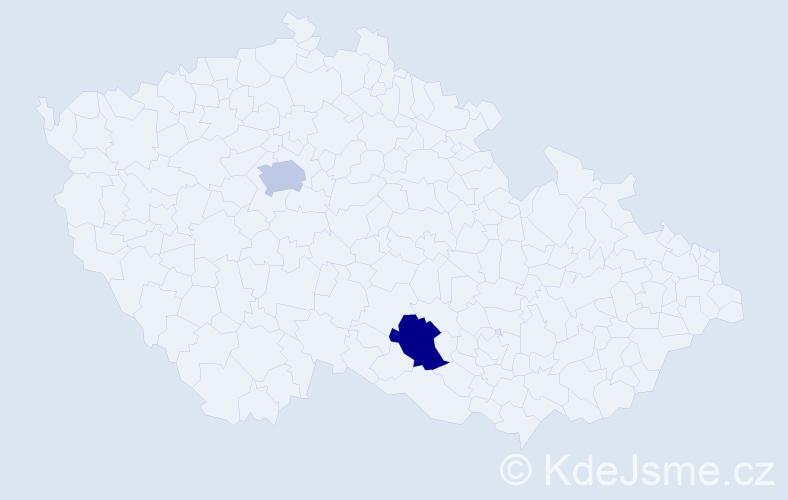 Jméno: 'Valerie Sofie', počet výskytů 2 v celé ČR