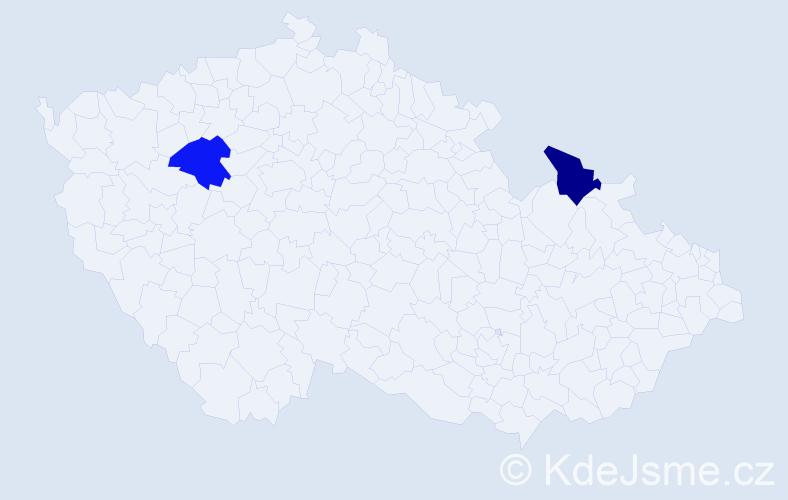 Jméno: 'Šarlota Antonie', počet výskytů 2 v celé ČR