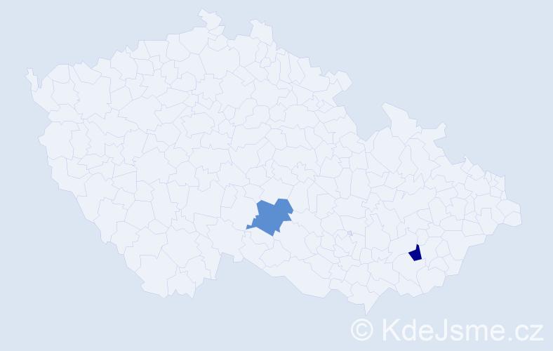 Jméno: 'Štěpán Jakub', počet výskytů 2 v celé ČR