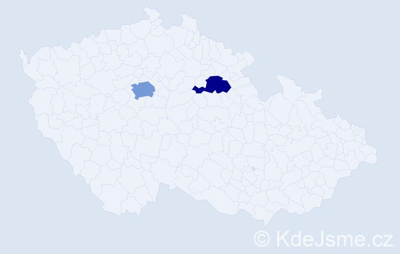 Jméno: 'Šárka Eliška', počet výskytů 3 v celé ČR