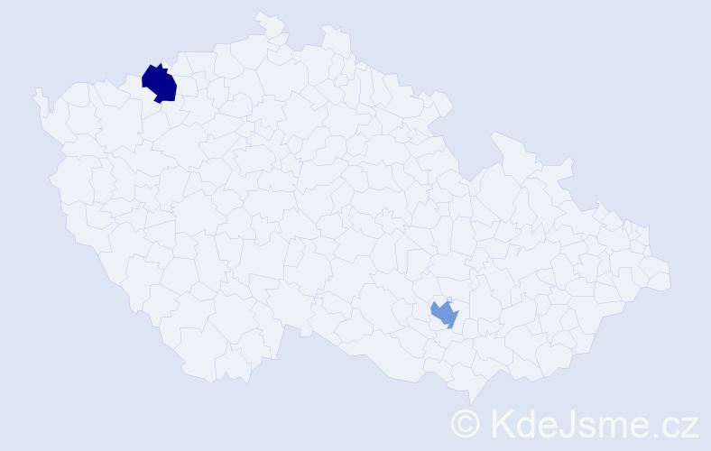Jméno: 'Šára', počet výskytů 2 v celé ČR