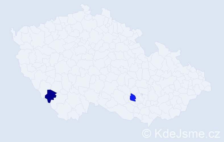 Jméno: 'Šarlota Izabela', počet výskytů 2 v celé ČR