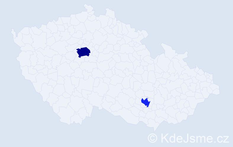 Jméno: 'Gyulnara', počet výskytů 5 v celé ČR