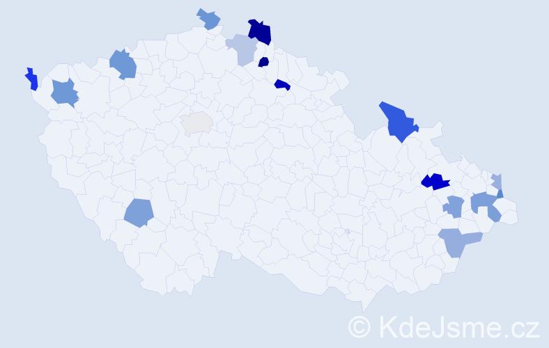 Jméno: 'Štefán', počet výskytů 22 v celé ČR