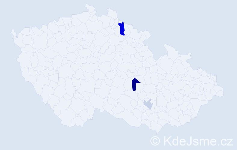 Jméno: 'Vilhelmina', počet výskytů 3 v celé ČR