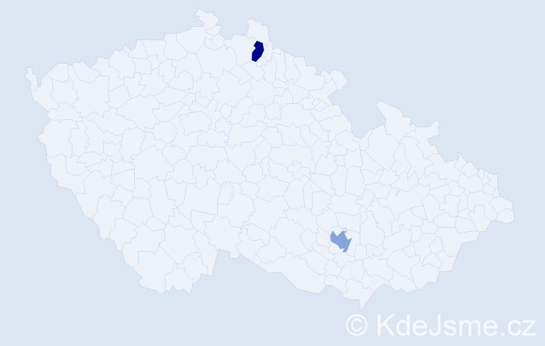Jméno: 'Ismini', počet výskytů 2 v celé ČR
