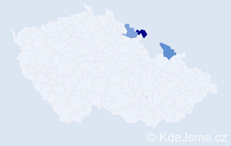 Jméno: 'Šimon Eliáš', počet výskytů 3 v celé ČR