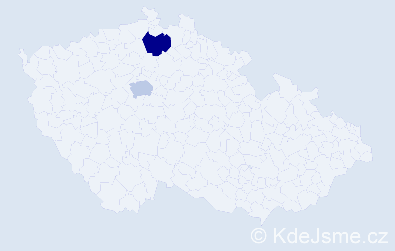 Jméno: 'Viktorina', počet výskytů 2 v celé ČR