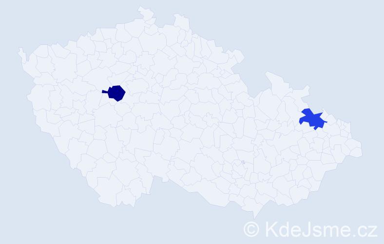 Jméno: 'Giselle', počet výskytů 2 v celé ČR