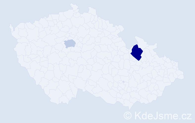 Jméno: 'Štěpán Hugo', počet výskytů 2 v celé ČR
