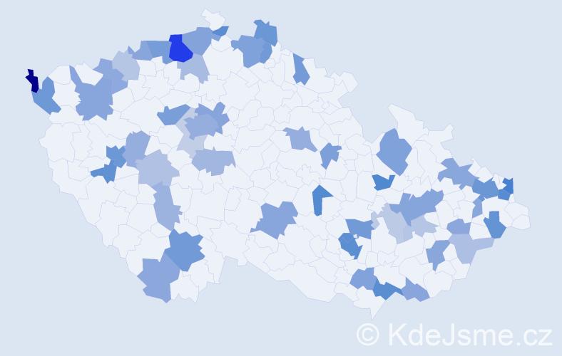 Jméno: 'Melissa', počet výskytů 122 v celé ČR