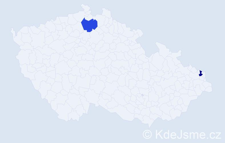 Jméno: 'Wladyslava', počet výskytů 2 v celé ČR