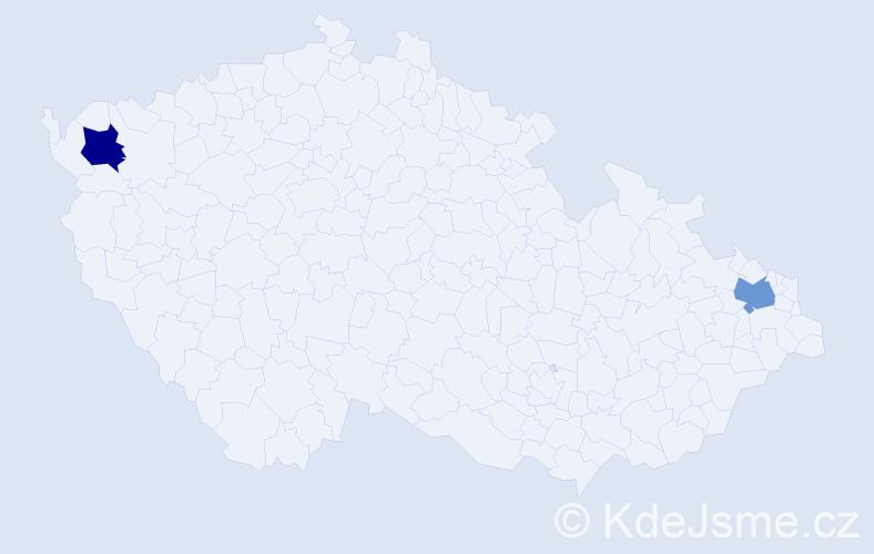Jméno: 'Candela', počet výskytů 2 v celé ČR