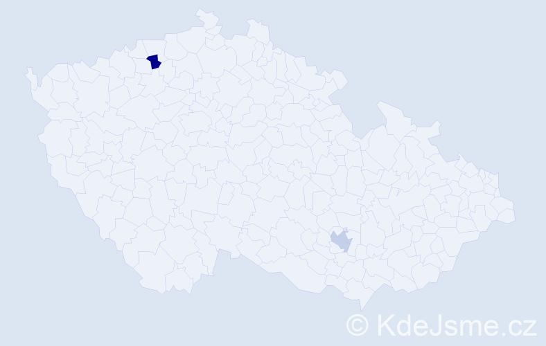 Jméno: 'Chantalle', počet výskytů 2 v celé ČR