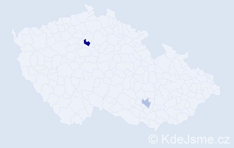 Jméno: 'Šačir', počet výskytů 2 v celé ČR