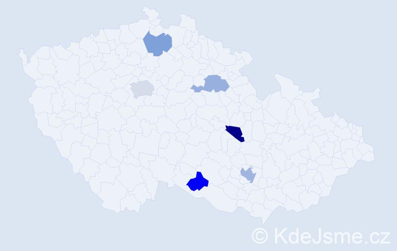 Jméno: 'Quentin', počet výskytů 8 v celé ČR