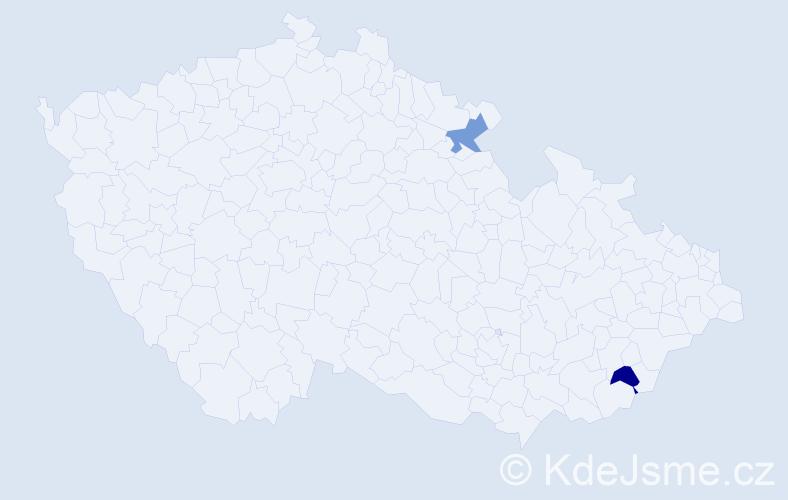 Jméno: 'Šárka Elizabeth', počet výskytů 2 v celé ČR