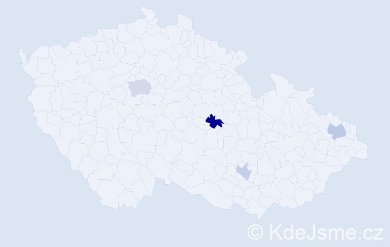 Jméno: 'Yasir', počet výskytů 5 v celé ČR
