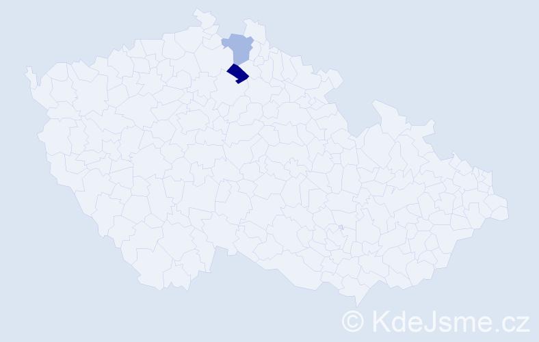 Jméno: 'Lyvia', počet výskytů 2 v celé ČR
