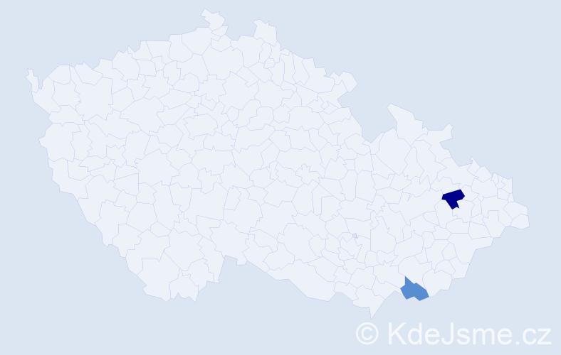 Jméno: 'Šarlota Božena', počet výskytů 2 v celé ČR