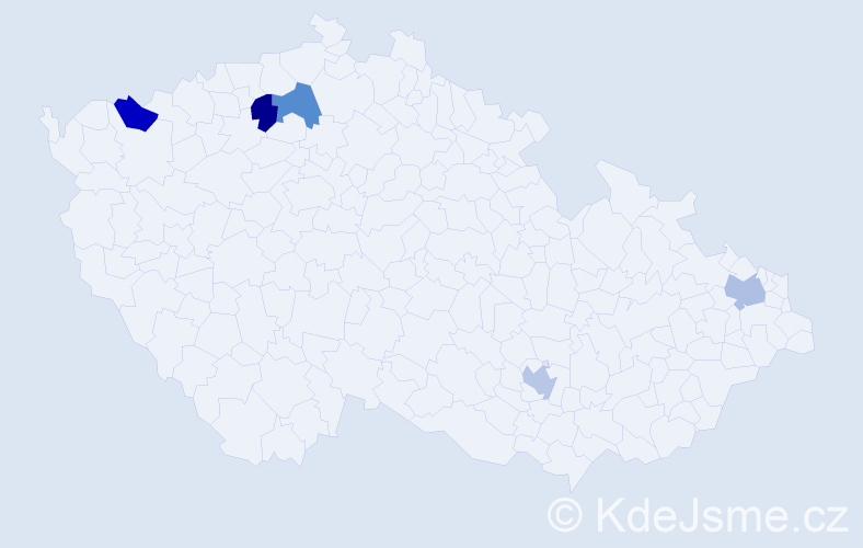 Jméno: 'Dave', počet výskytů 5 v celé ČR