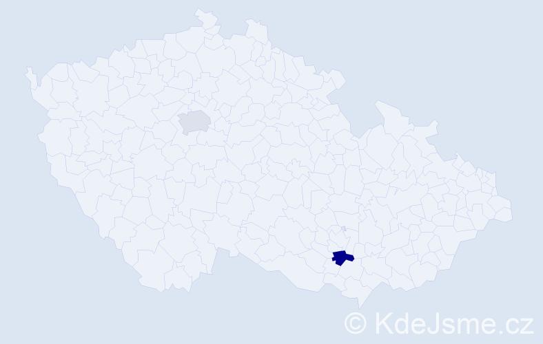 Jméno: 'Šahen', počet výskytů 2 v celé ČR