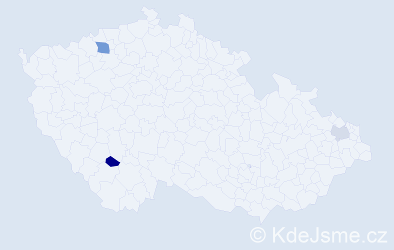 Jméno: 'Šebestian', počet výskytů 4 v celé ČR