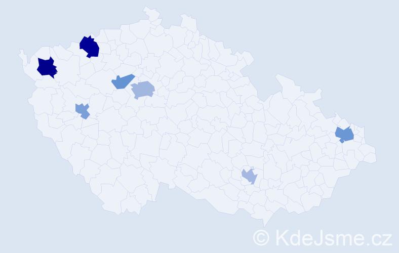 Jméno: 'Štefanka', počet výskytů 12 v celé ČR