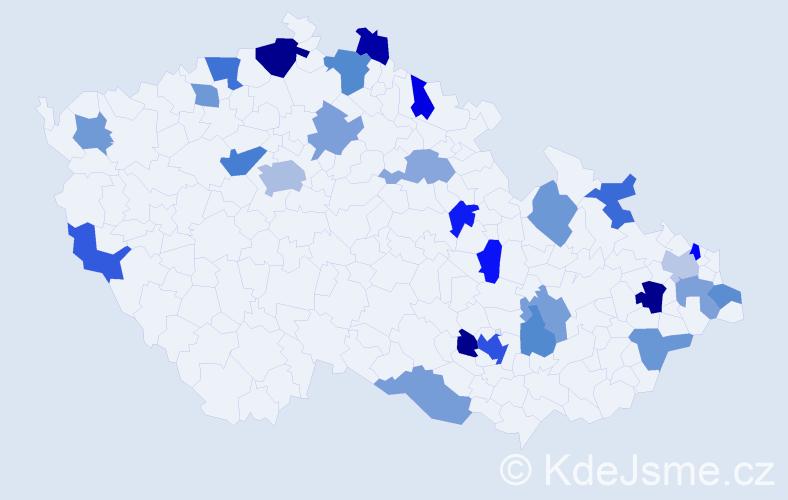 Jméno: 'Kelly', počet výskytů 41 v celé ČR