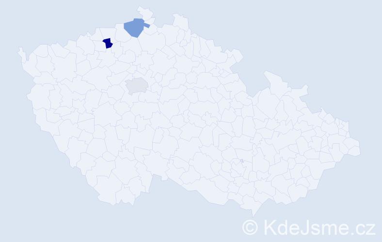 Jméno: 'Viktorie Klára', počet výskytů 3 v celé ČR