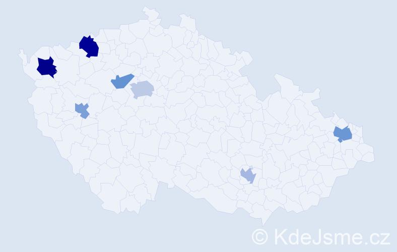 Jméno: 'Štefanka', počet výskytů 11 v celé ČR