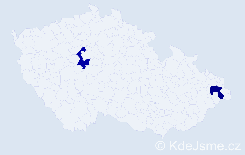 Jméno: 'Karolína Bibiana', počet výskytů 2 v celé ČR