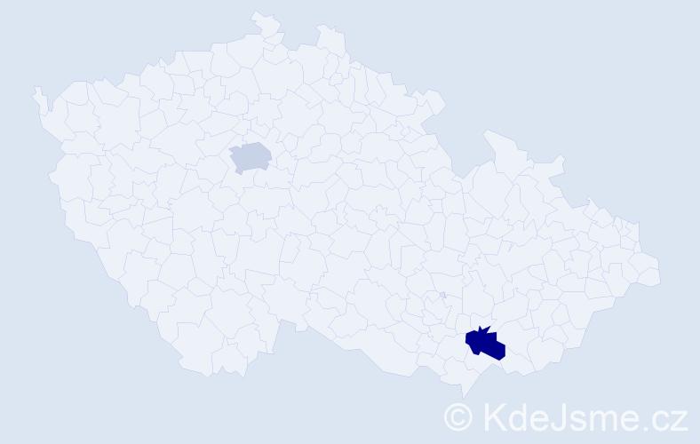Jméno: 'Štěpán Ignác', počet výskytů 2 v celé ČR