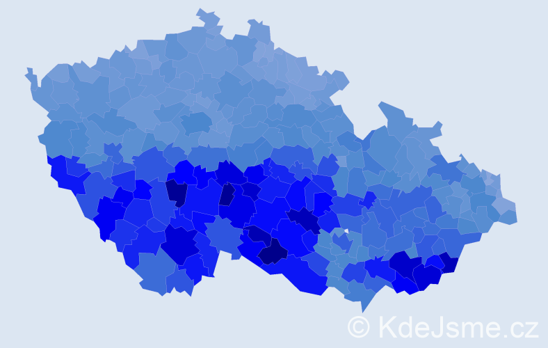 Jméno: 'Marie', počet výskytů 266952 v celé ČR