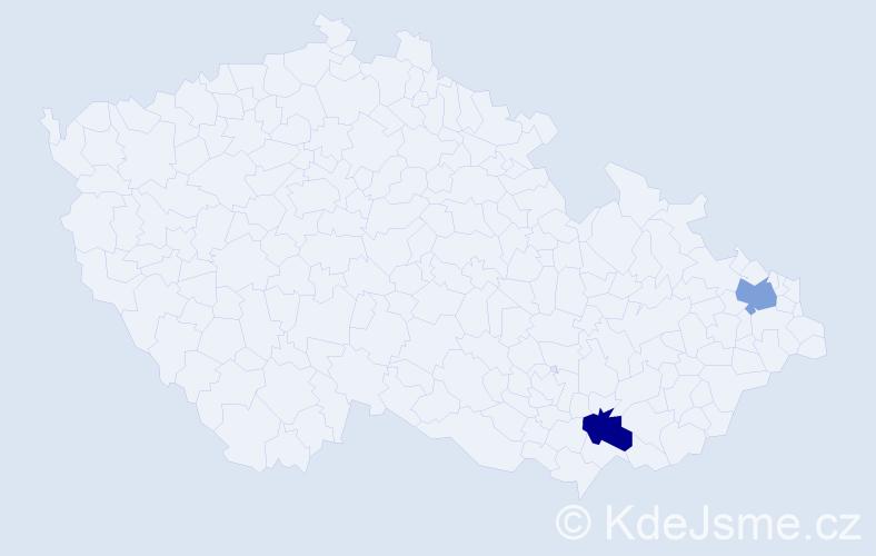 Jméno: 'Veronika Kamila', počet výskytů 2 v celé ČR