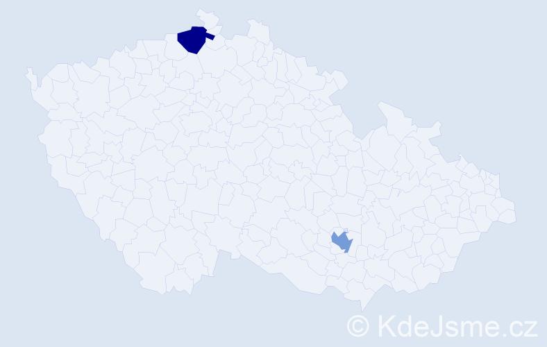 Jméno: 'Gregorio', počet výskytů 2 v celé ČR
